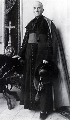 Biskup przemyski Józef Pelczar w symarze, farioli i z kapeluszem w dłoni.