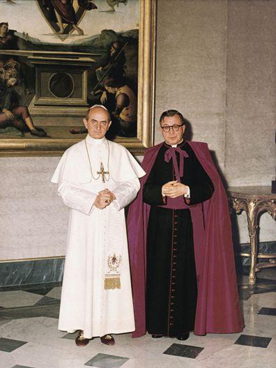 Ksiądz prałat Escrivá w czasie audiencji u Pawła VI.