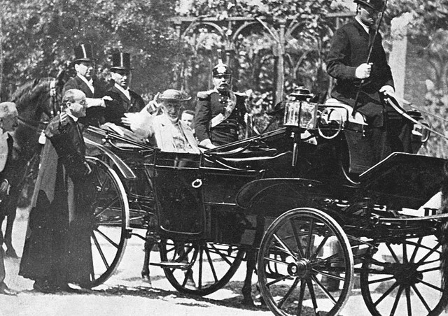 Pope Leo XIII Riding in Open Carriage