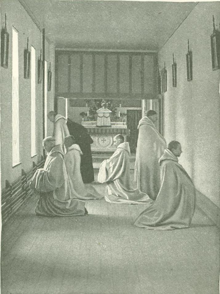 Monks at Oka praying before Stations of the Cross